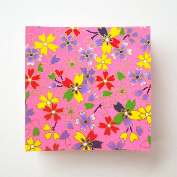 Pack of 100 Sheets 7x7cm Yuzen Washi Origami Paper HZ-440 - Various Colour Cherry Blossom Vivid Pink