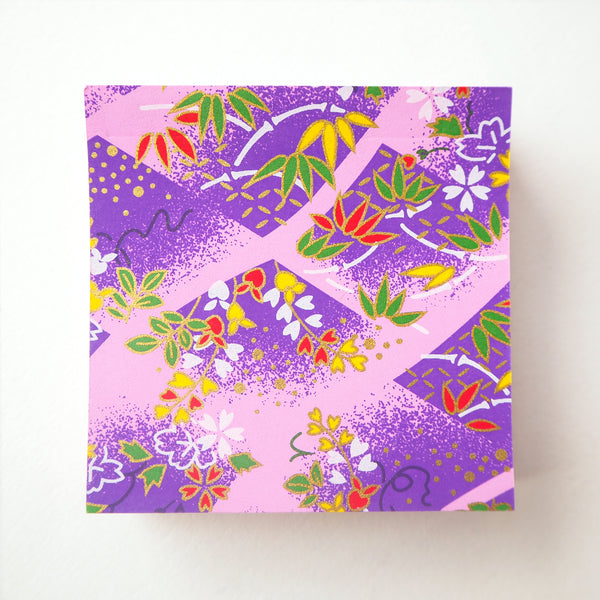 Pack of 100 Sheets 7x7cm Yuzen Washi Origami Paper - Cherry Blossom & Weight Chain Purple