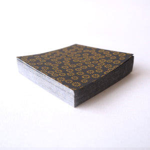 Pack of 100 Sheets 7x7cm Yuzen Washi Origami Paper HZ-445 - Small Chrysanthemum Black - washi paper - Lavender Home London