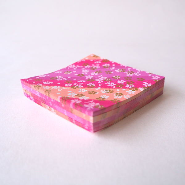 Pack of 100 Sheets 7x7cm Yuzen Washi Origami Paper - Small Cherry Blossom Purple Shades Stripes