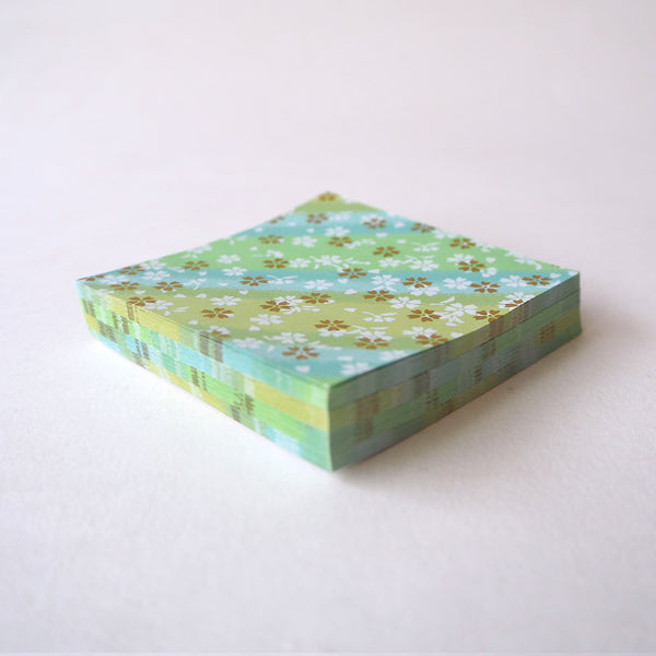 Pack of 100 Sheets 7x7cm Yuzen Washi Origami Paper - Small Cherry Blossom Green Shades Stripes