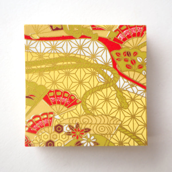 Pack of 100 Sheets 7x7cm Yuzen Washi Origami Paper - Floral Fans & Hemp Leaf Yellow
