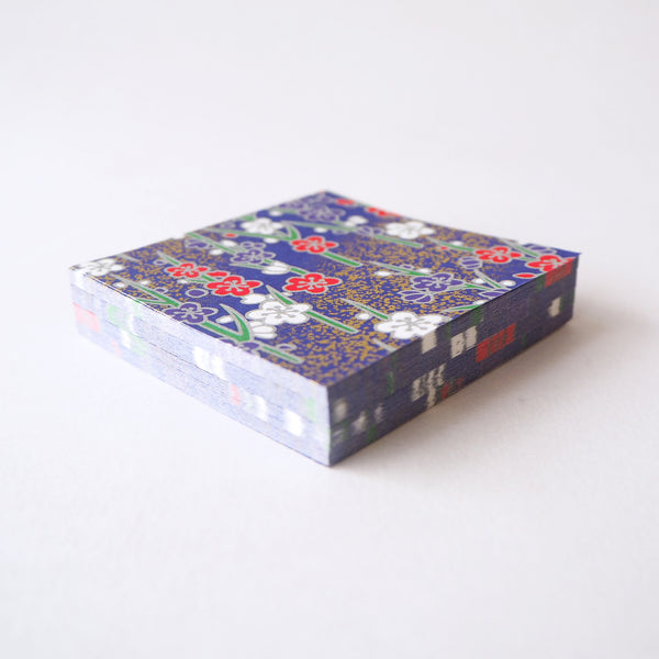 Pack of 100 Sheets 7x7cm Yuzen Washi Origami Paper - Silver Plum Branches Navy