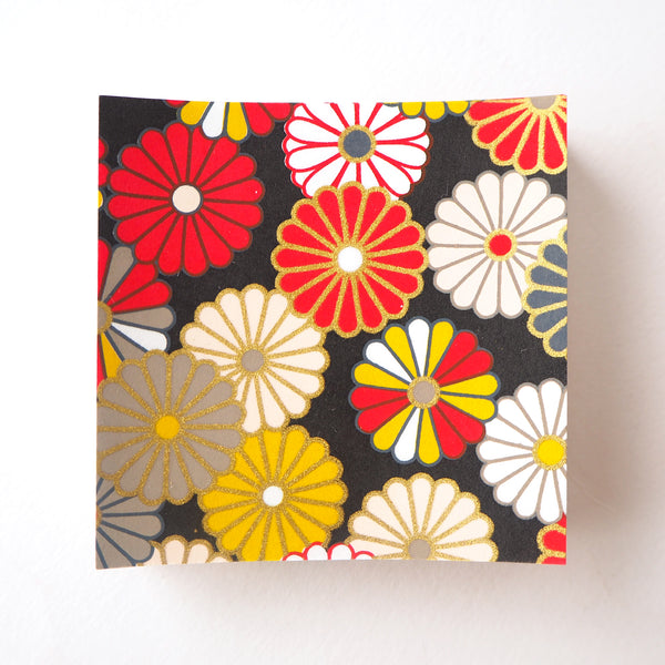 Pack of 100 Sheets 7x7cm Yuzen Washi Origami Paper - Traditional Chrysanthemum