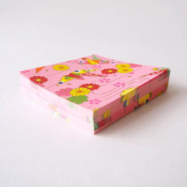 Pack of 100 Sheets 7x7cm Yuzen Washi Origami Paper - Origami Cranes Pink (S)