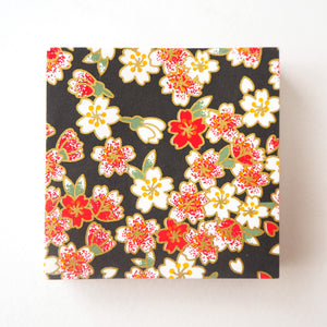 Pack of 100 Sheets 7x7cm Yuzen Washi Origami Paper HZ-464 - Red Pink Cherry Blossom Black - washi paper - Lavender Home London