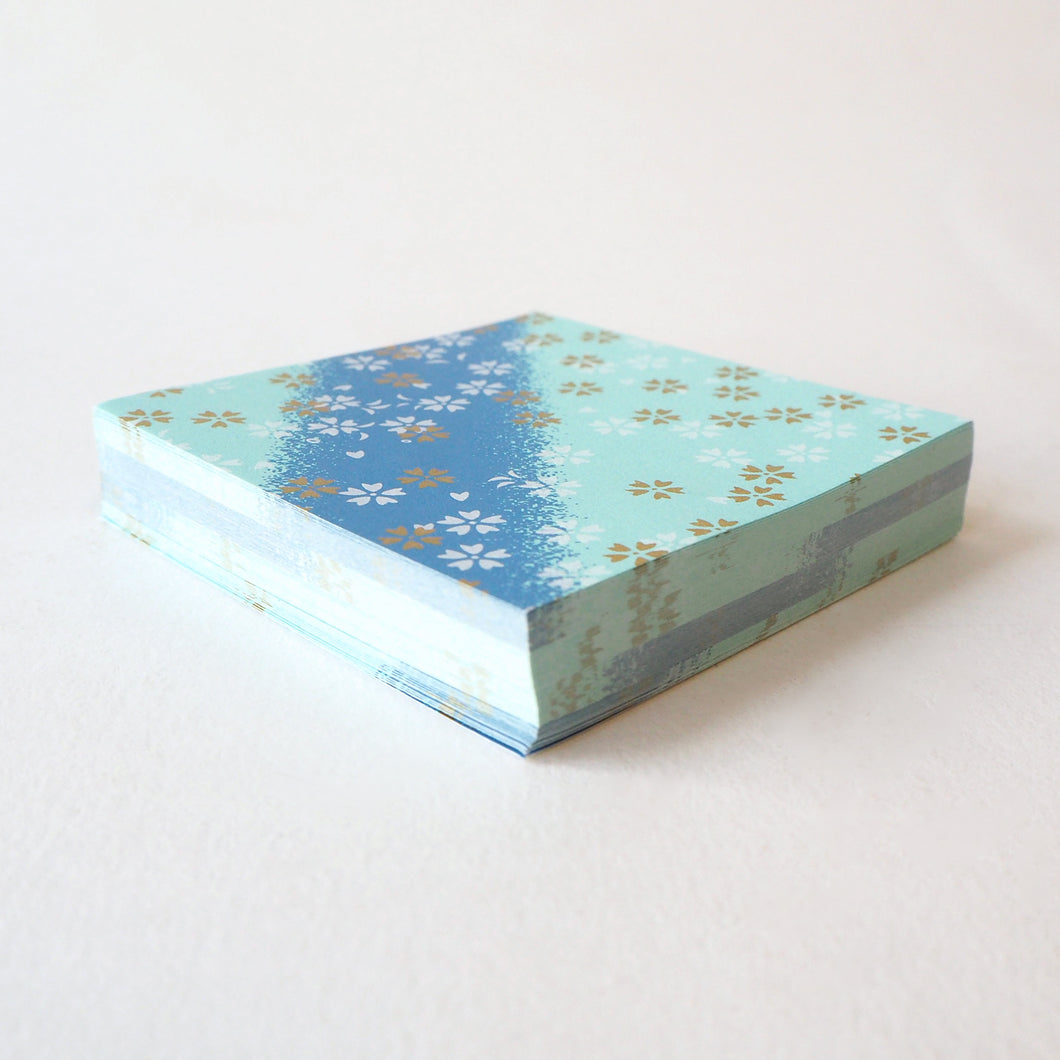 Pack of 100 Sheets 7x7cm Yuzen Washi Origami Paper HZ-467 - Small Cherry Blossom Blue Shades Stripes - washi paper - Lavender Home London
