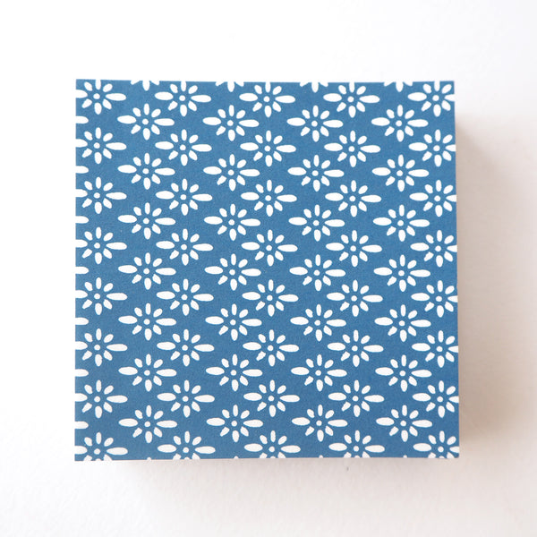 Pack of 100 Sheets 7x7cm Yuzen Washi Origami Paper - Prussian Blue Diamond Flower