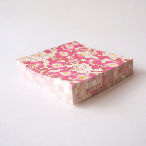 Pack of 100 Sheets 7x7cm Yuzen Washi Origami Paper - Cloudy Plum Flower Pink
