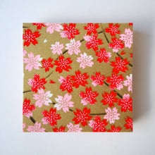 Pack of 100 Sheets 7x7cm Yuzen Washi Origami Paper HZ-490 - Red Pink Cherry Blossom Gold - washi paper - Lavender Home London