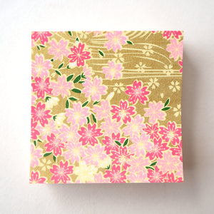 Pack of 100 Sheets 7x7cm Yuzen Washi Origami Paper HZ-492 - Cherry Blossom & Flowing Water Gold - washi paper - Lavender Home London