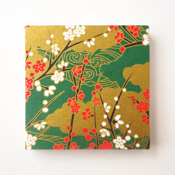 Pack of 100 Sheets 7x7cm Yuzen Washi Origami Paper - Plum Flower & Flowing Water Dark Green