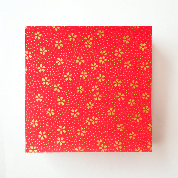 Pack of 100 Sheets 7x7cm Yuzen Washi Origami Paper HZ-502 - Small Gold Cherry Blossom Red