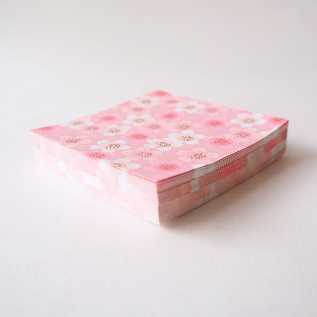 Pack of 100 Sheets 7x7cm Yuzen Washi Origami Paper HZ-504 - Pink Shades Cherry Blossom - washi paper - Lavender Home London