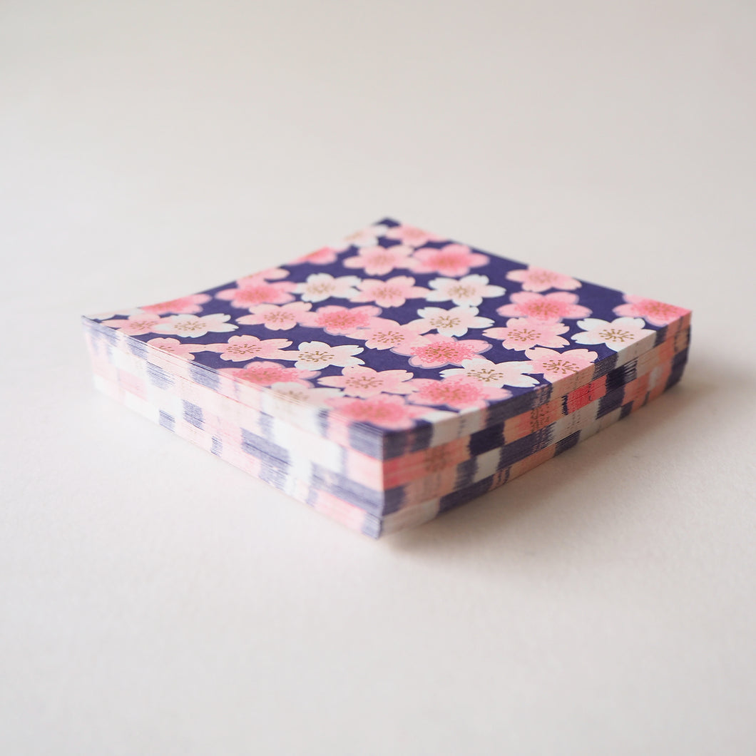 Pack of 100 Sheets 7x7cm Yuzen Washi Origami Paper HZ-505 - Pink Shades Cherry Blossom Navy - washi paper - Lavender Home London