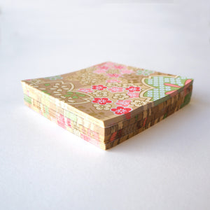 Pack of 100 Sheets 7x7cm Yuzen Washi Origami Paper HZ-508 - Mixed Floral Patterns Pink Brown - washi paper - Lavender Home London