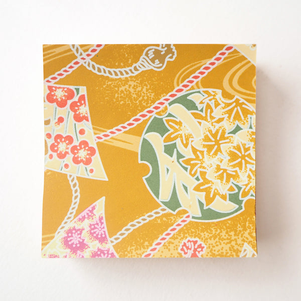 Pack of 100 Sheets 7x7cm Yuzen Washi Origami Paper - Chinese Characters Turmeric