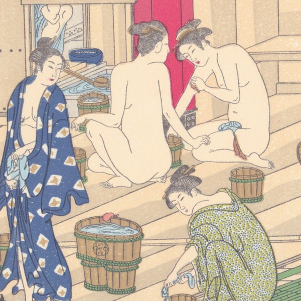 Japanese Woodblock Print 17 - Women in Public Bath by Kiyonaga Torii - Print - Lavender Home London
