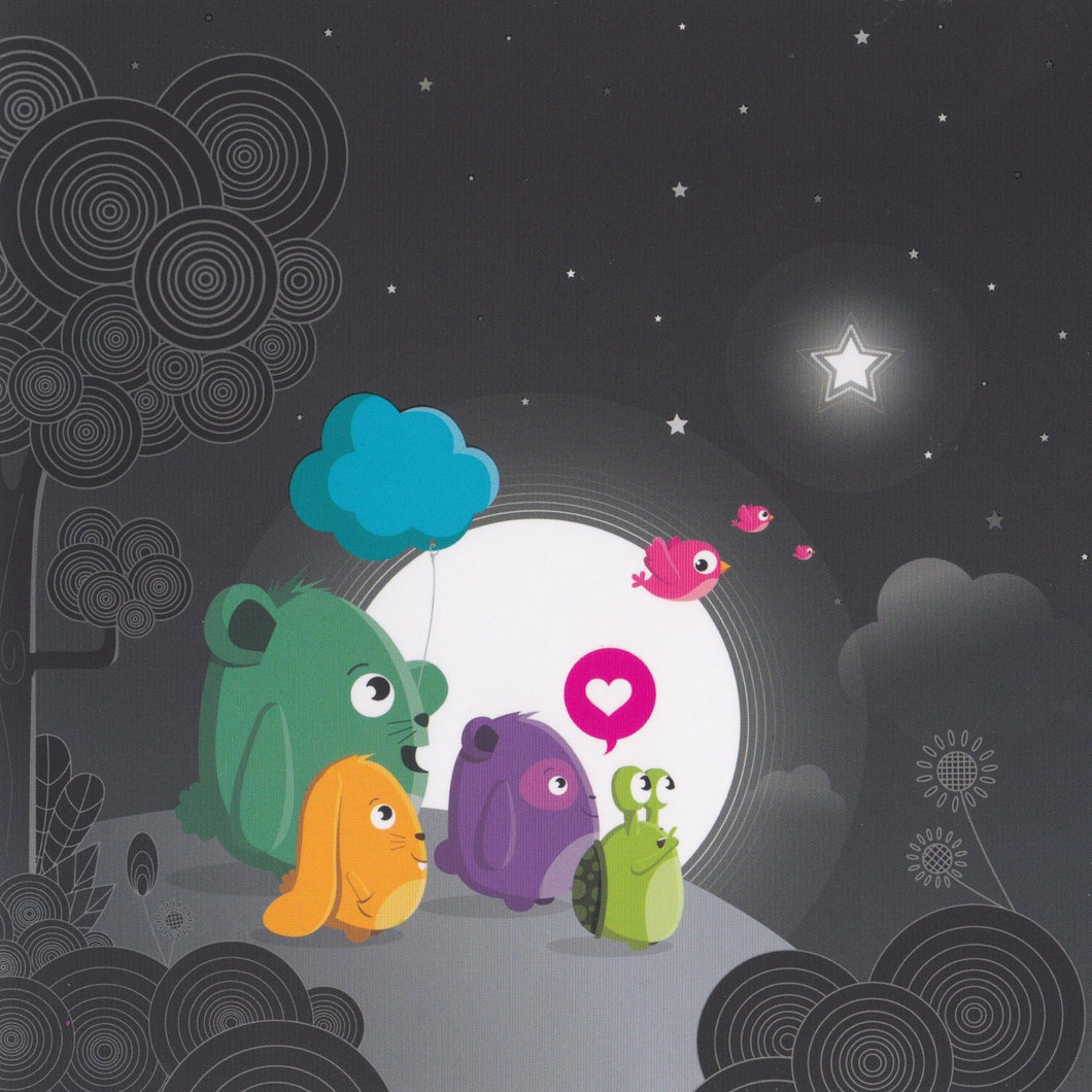 Greeting Card - GA38 - Moonlight Animals