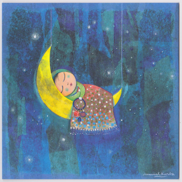 New Baby Card - GK8 - Moon Baby - Lavender Home London