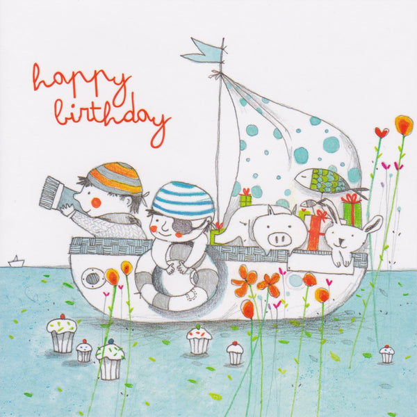 Birthday Card - GA37 - Happy Birthday Pirates - Lavender Home London