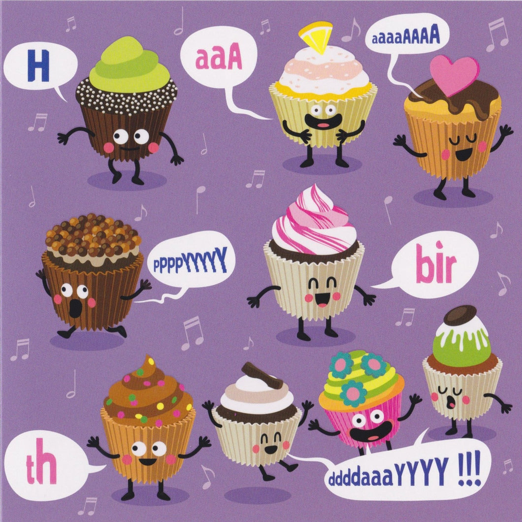 Birthday Card - GR4 - Happy Birthday Cupcakes - Lavender Home London