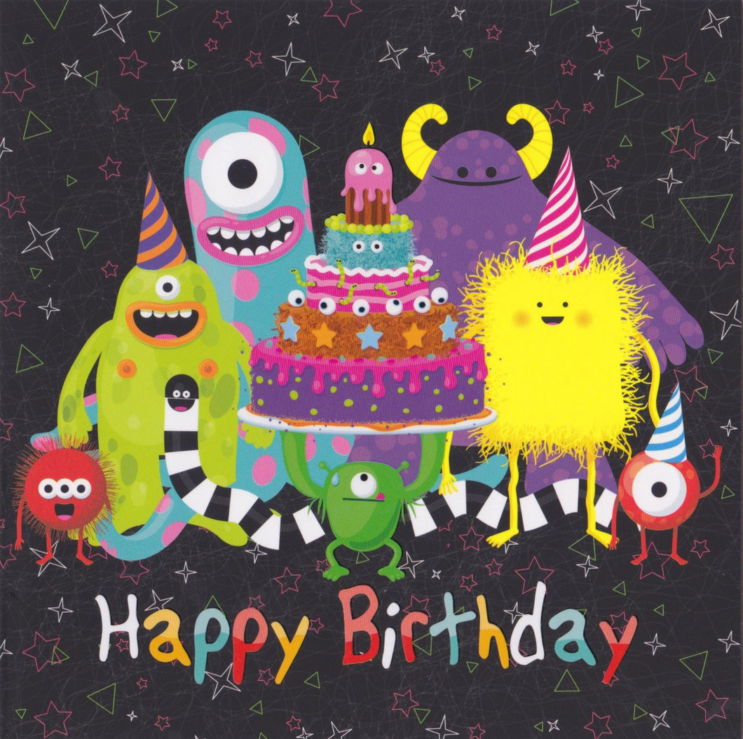 Birthday Card - GR2 - Happy Birthday Monsters - Lavender Home London