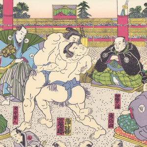 Japanese Woodblock Print 13 - Sumo, Japanese Wresting by Toyokuni Utagawa - Print - Lavender Home London