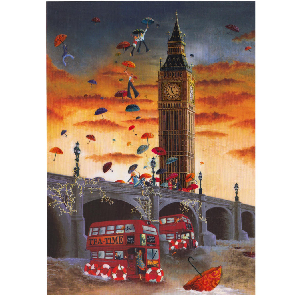 Greeting Card - DA15 - Big Ben and Red Bus London
