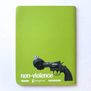 Soft Binding Brown Paper Pocket Notebook - Non-violence Knotted Gun - Lavender Home London