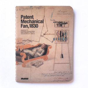 Soft Binding Brown Paper Pocket Notebook - Patent Mechanical Fan, 1830 - Stationery - Lavender Home London