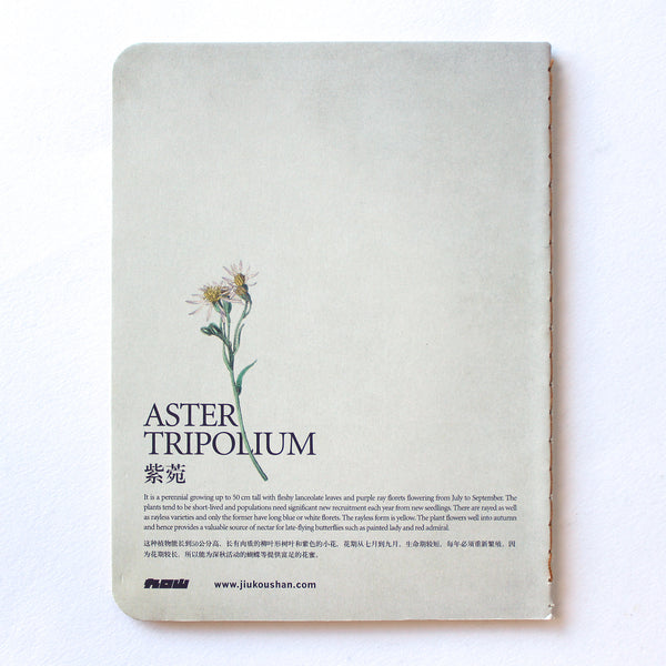 Soft Binding Brown Paper Pocket Notebook - Wild Flowers Aster Tripolium Sea Aster Butterfly