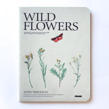 Soft Binding Brown Paper Pocket Notebook - Wild Flowers Aster Tripolium Sea Aster Butterfly - Stationery - Lavender Home London