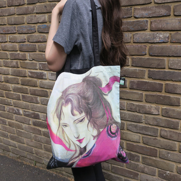 Guardian Spirits Cotton Tote Bag with Zipper Pocket - Princess Kaguya - Tote Bags - Lavender Home London