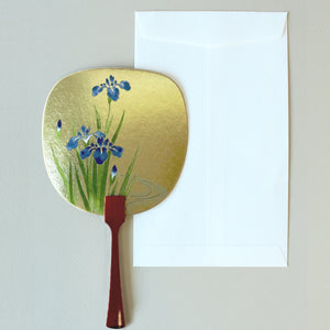 Uchiwa-fan Greeting Card - Blue Blooming Irises - Cards - Lavender Home London