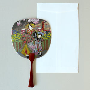 Uchiwa-fan Greeting Card - Ukiyo-e Mother and Daughter - Cards - Lavender Home London