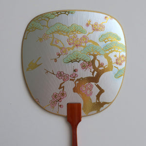 Uchiwa-fan Greeting Card - Pine Tree with Plum Flowers - Cards - Lavender Home London