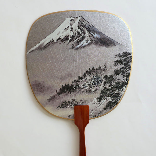 Uchiwa-fan Greeting Card - Misty Mount Fuji - Cards - Lavender Home London
