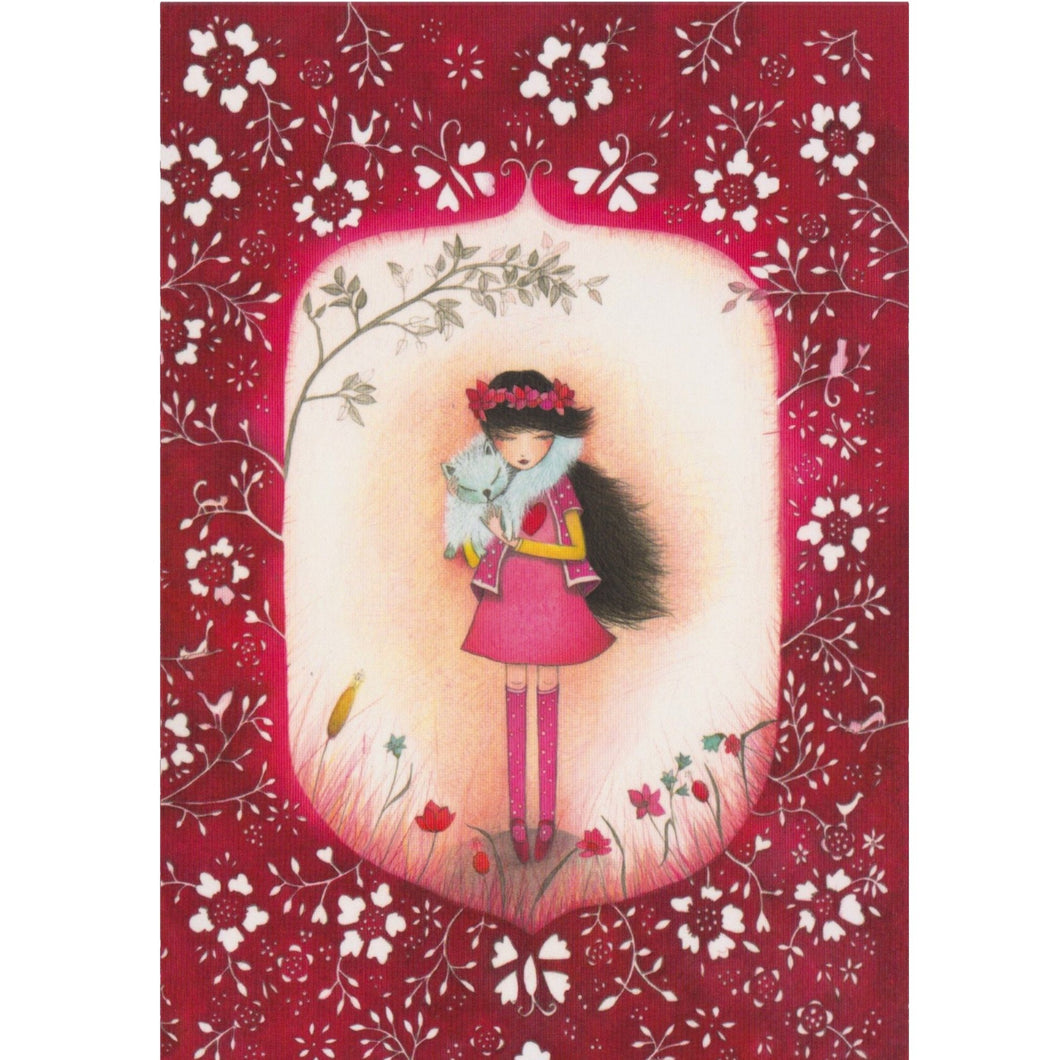Greeting Card - DA68 - Girl & Cat