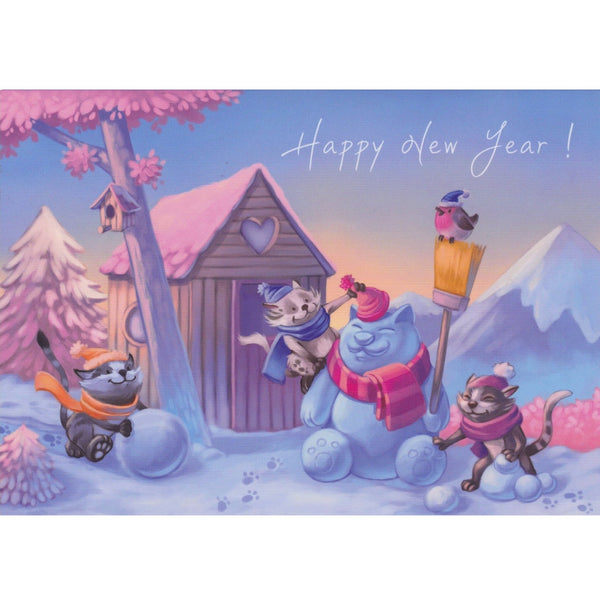 New Year Card - DX19 - Happy New Year Cats in the Snow - Lavender Home London