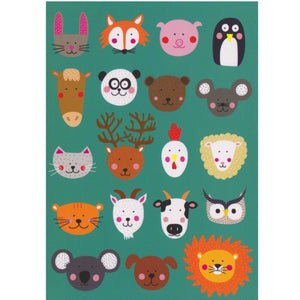 Greeting Card - DA72 - Animal Faces - Lavender Home London