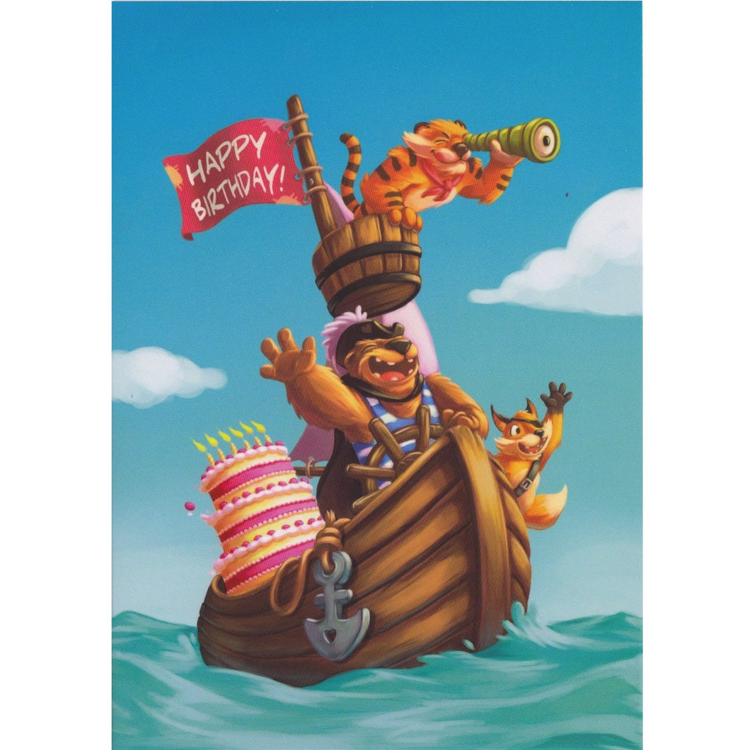 Birthday Card - DA62 - Happy Birthday Animal Pirates - Lavender Home London