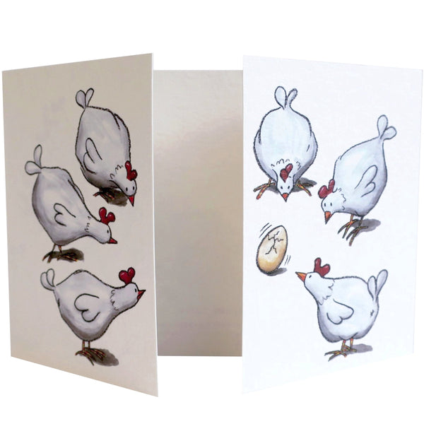 Fold Out New Baby Card - CT27 - Hens and the Egg