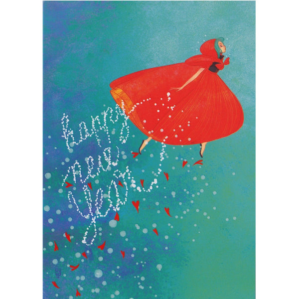 New Year Card - DX12 - Happy New Year Red Hooded Girl - Lavender Home London