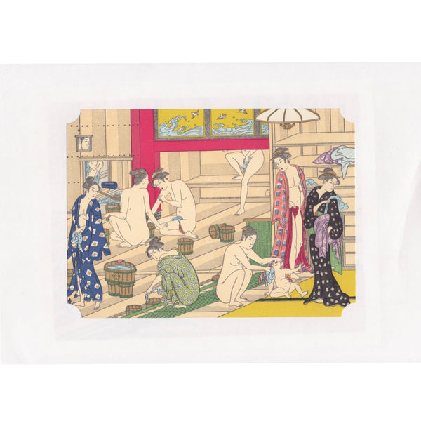 Japanese Woodblock Print 17 - Women in Public Bath by Kiyonaga Torii - Lavender Home London