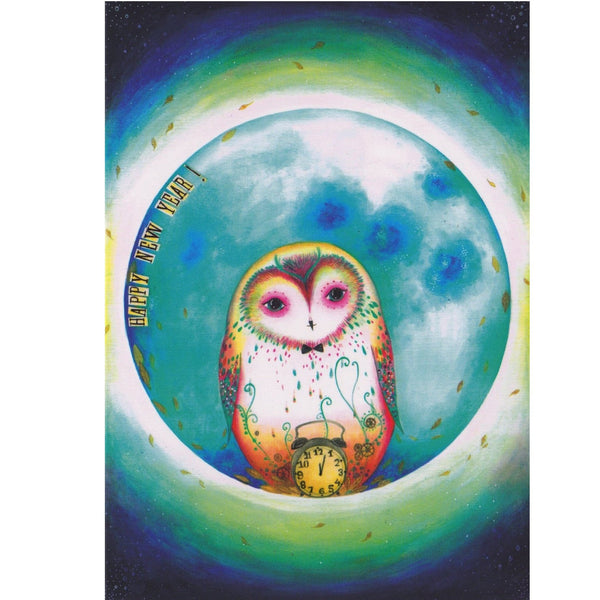 New Year Card - DX15 - Luna Owl Happy New Year - Lavender Home London