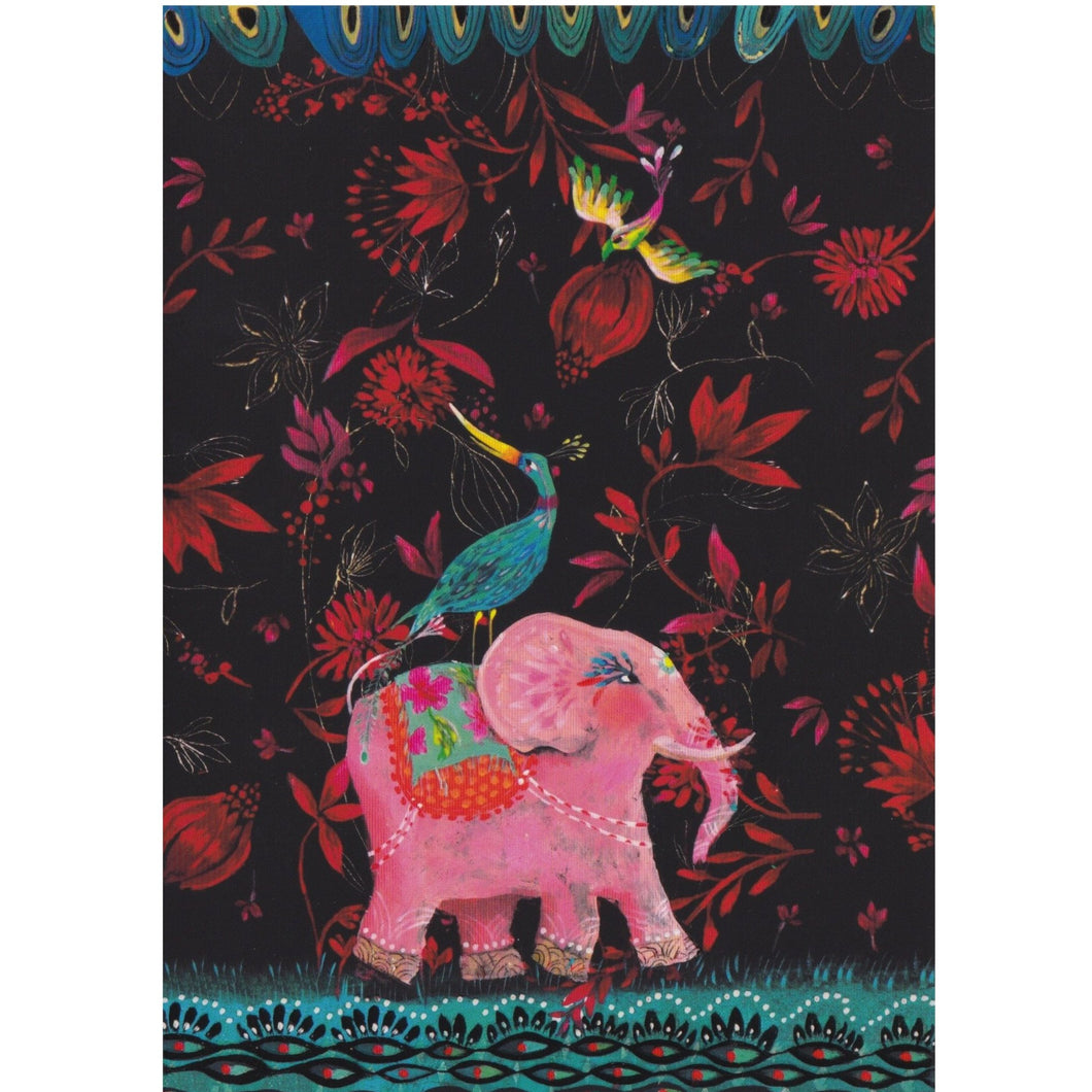 Greeting Card - DA17 - The Blue Bird and Pink Elephant