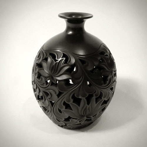 Traditional Chinese Handcrafted Black Clay - Vault of Heaven Vase - Lotus Flowers - Homeware - Lavender Home London