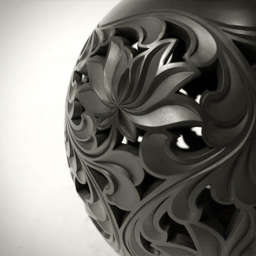 Traditional Chinese Handcraft Black Clay - VAULT OF-HEAVEN VASE (Medium) Pattern: Lotus Flowers