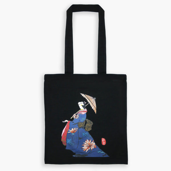 Original Japanese Art Ukiyo-e Tote Bag - Waiting for The Rain - Tote Bags - Lavender Home London